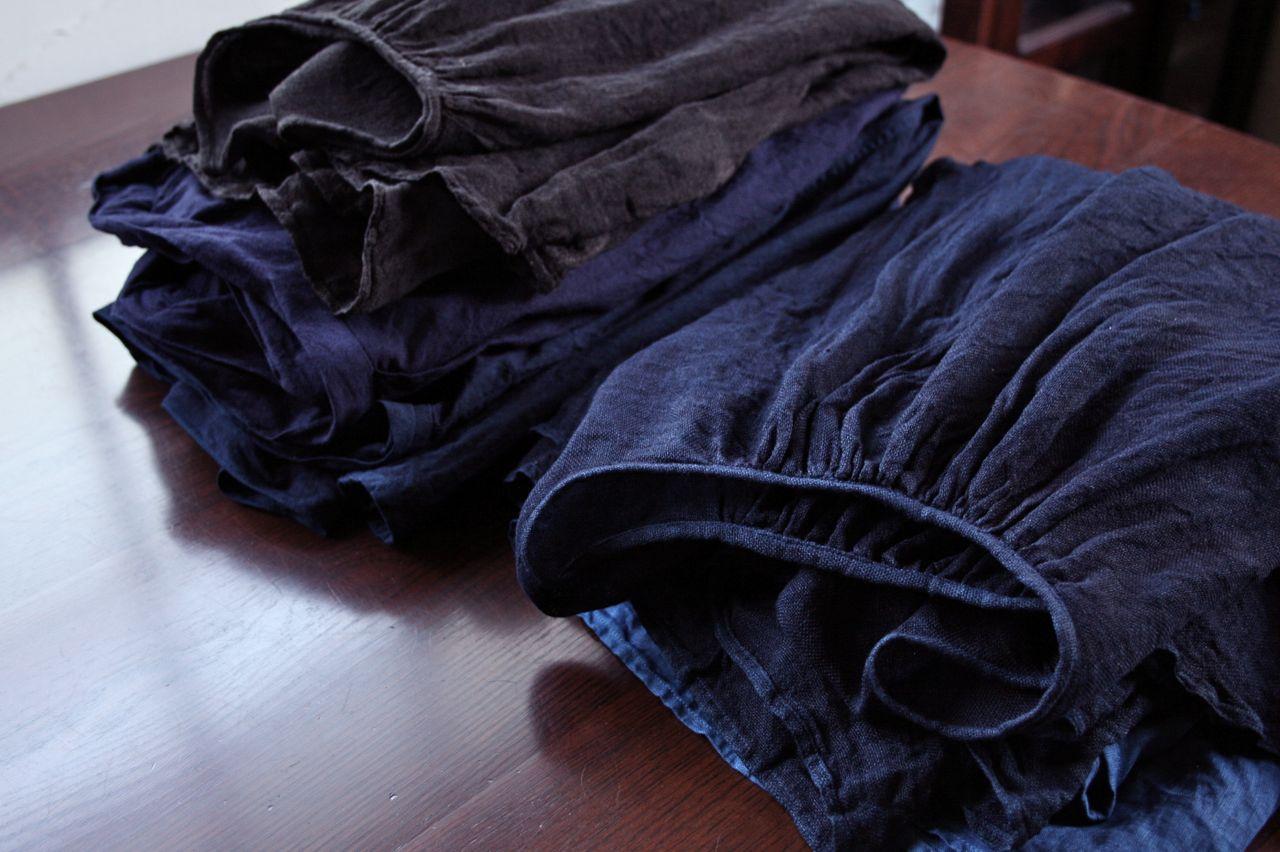 藍染めイタリアンリネンブラウス indigo dyed italian linen blouse