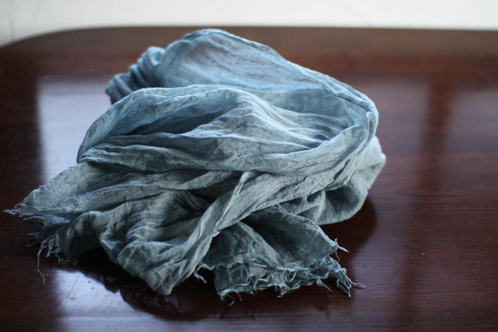 琉球藍 藍染め リネン ストール indigo dyed linen scarf