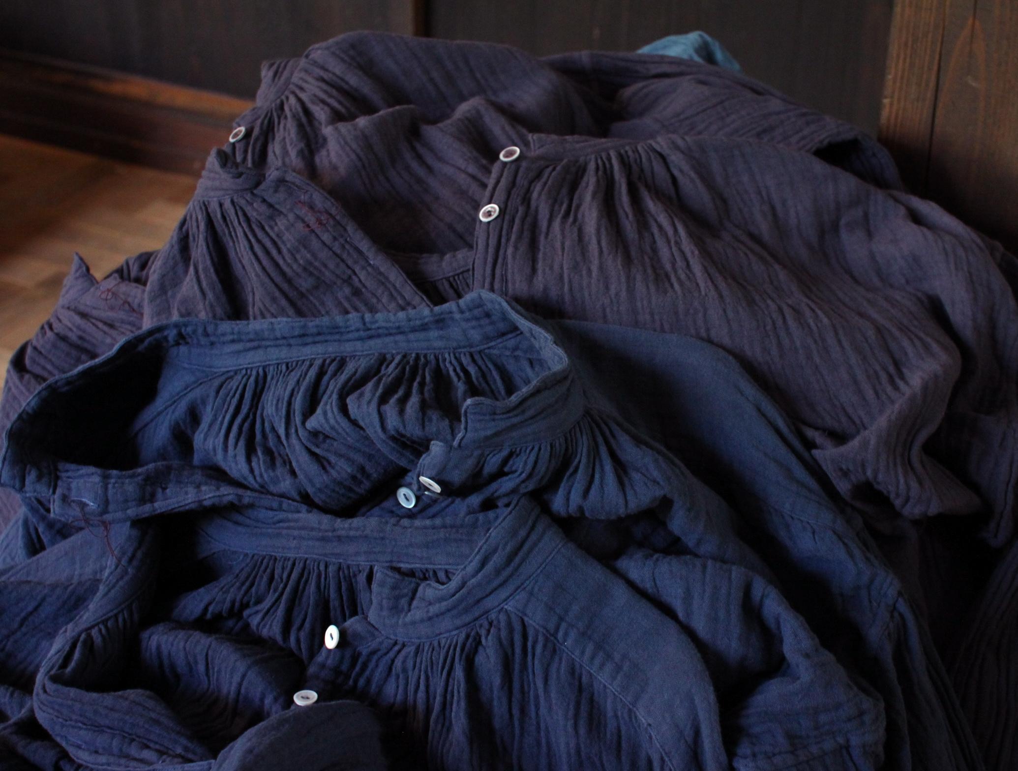 藍染め コットンリネン indigo  cotton linen