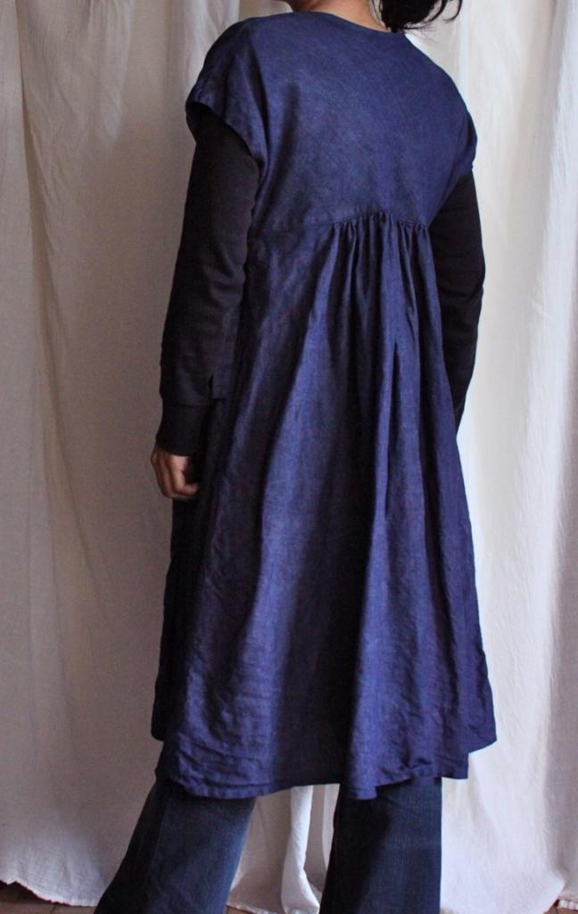 indigo dyed linen dress 藍染め リネン ワンピース