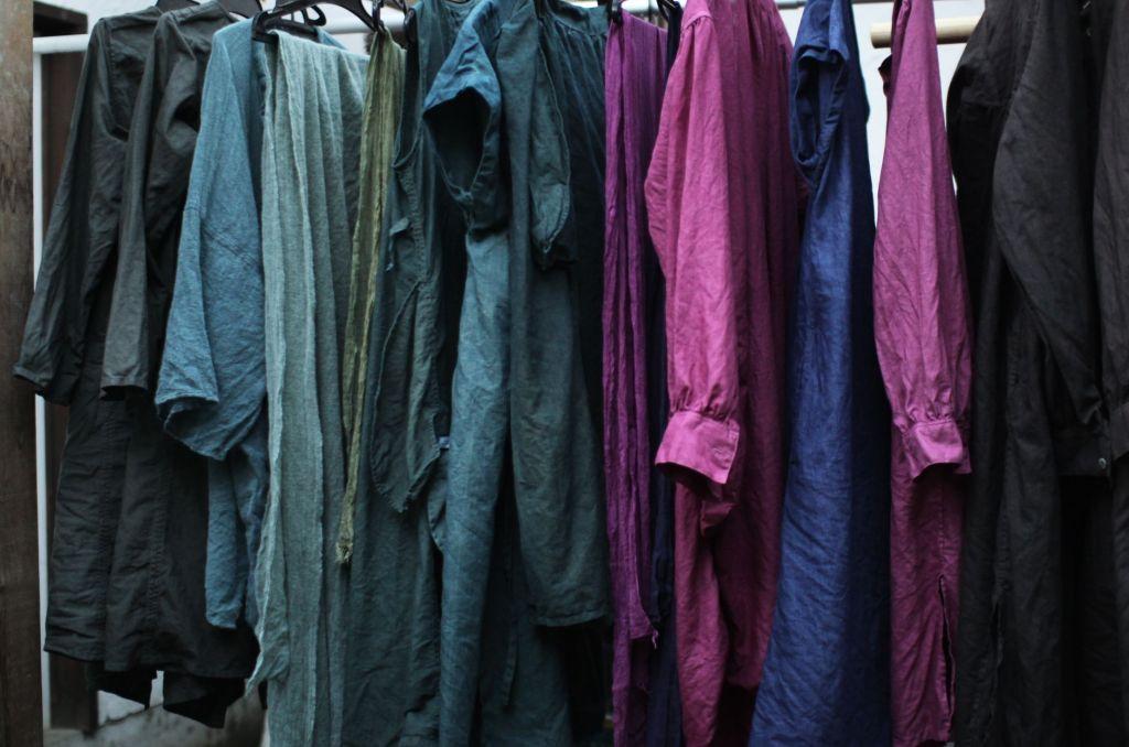 草木染め 藍 ザクロ コチニール 染め リネン チュニック ワンピース 藍染め indigo dyed linen dress