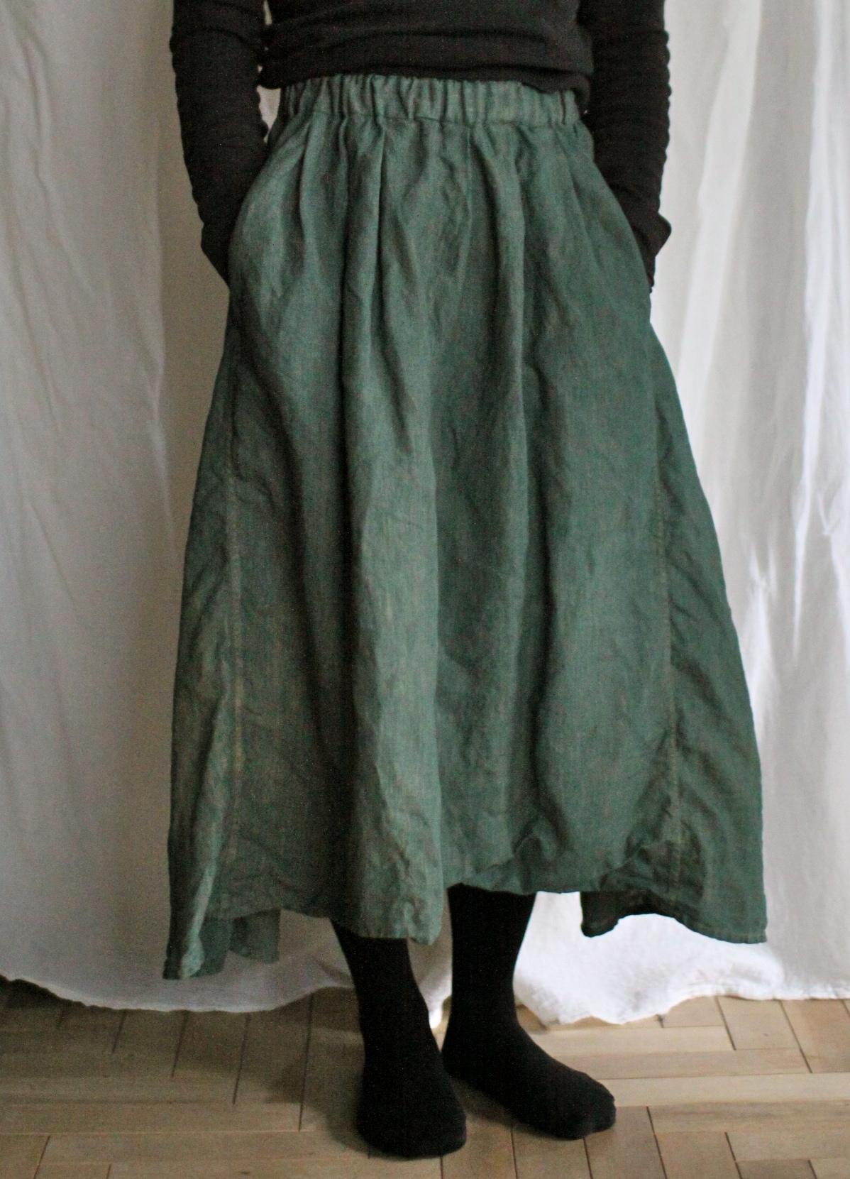 草木染め グリーン 藍 ザクロ 染め 藍染め リネンスカート indigo dyed linen skirt
