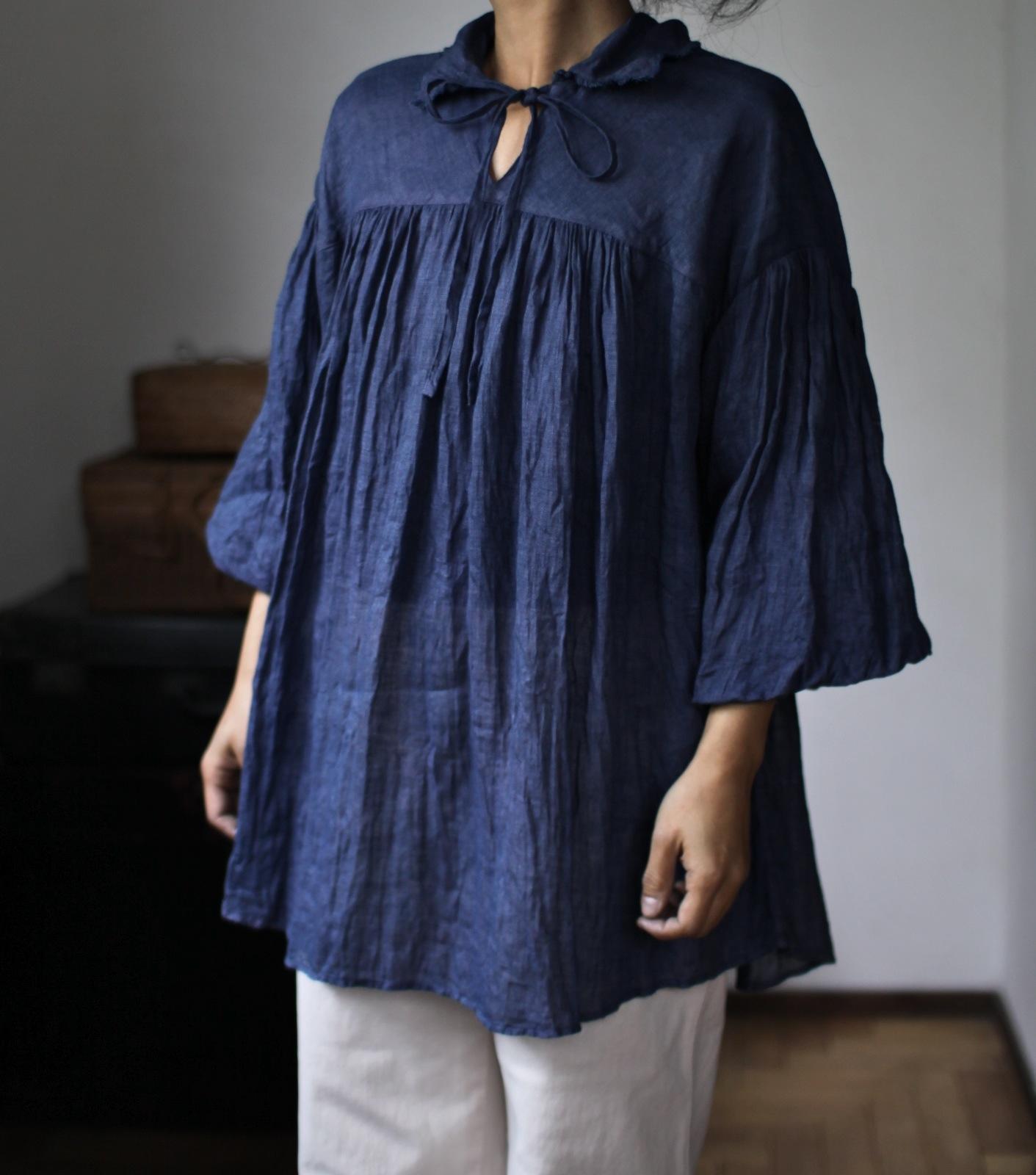 2015 Spring/Summer リネンシングルガーゼのブラウス Linen gauze blouse(B-1531)瑠璃