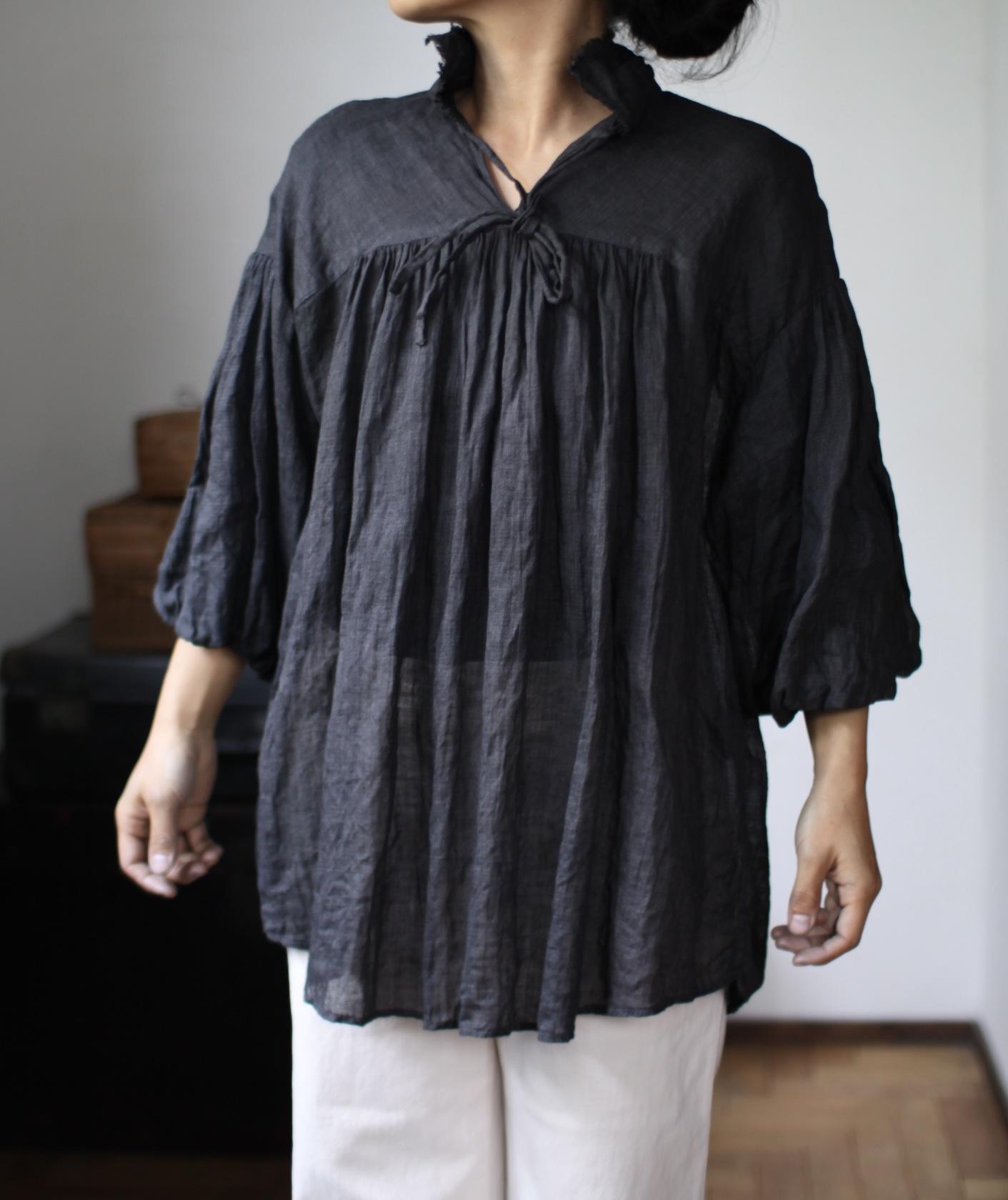 2015 Spring/Summer リネンシングルガーゼのブラウス Linen gauze blouse(B-1531)墨
