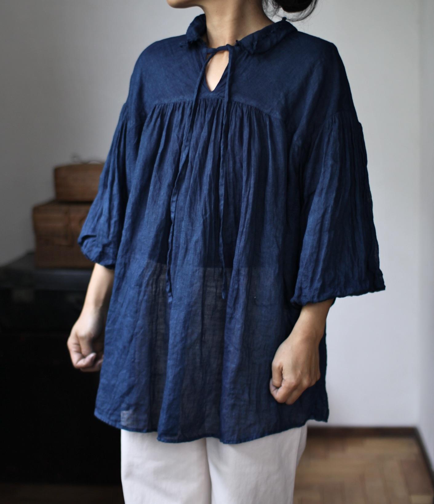 2015 Spring/Summer リネンシングルガーゼのブラウス Linen gauze blouse(B-1531)藍
