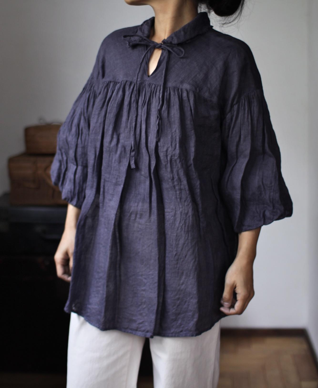 2015 Spring/Summer リネンシングルガーゼのブラウス Linen gauze blouse(B-1531)ブドウ