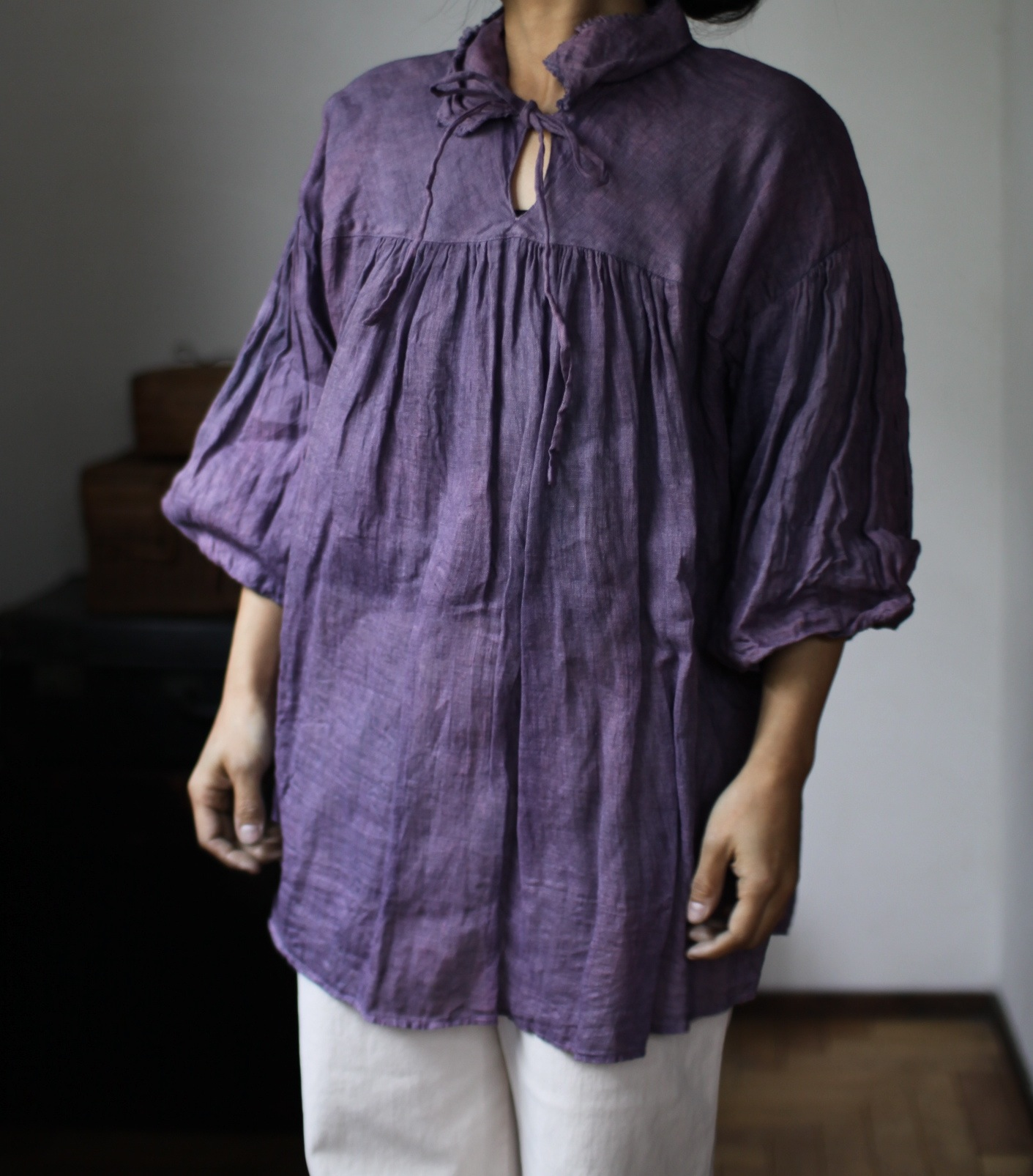 2015 Spring/Summer リネンシングルガーゼのブラウス Linen gauze blouse(B-1531)モーブ