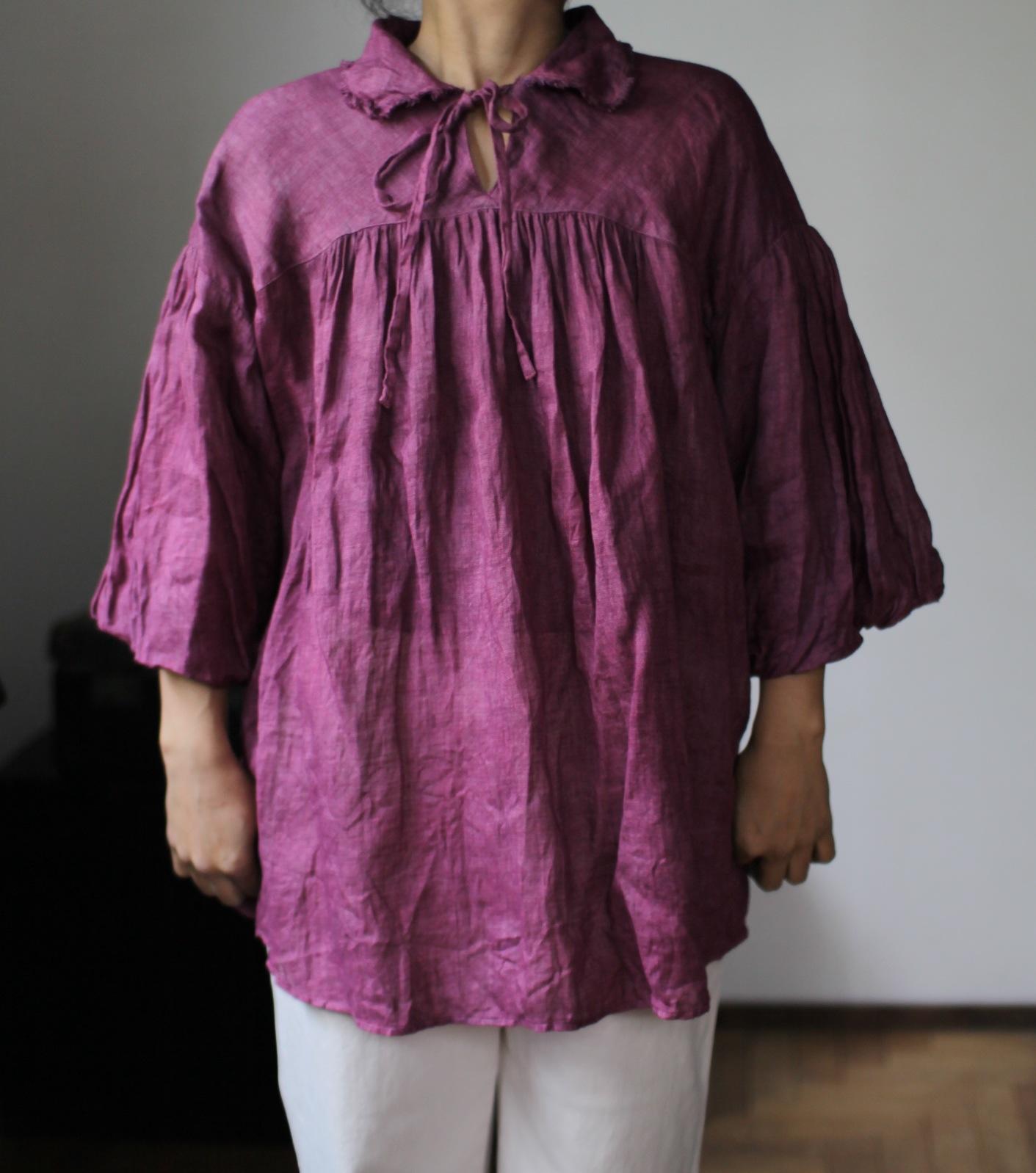 2015 Spring/Summer リネンシングルガーゼのブラウス Linen gauze blouse(B-1531)ラズベリー