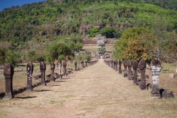クメール遺跡 参道 Wat Phou, Champasak, Laos