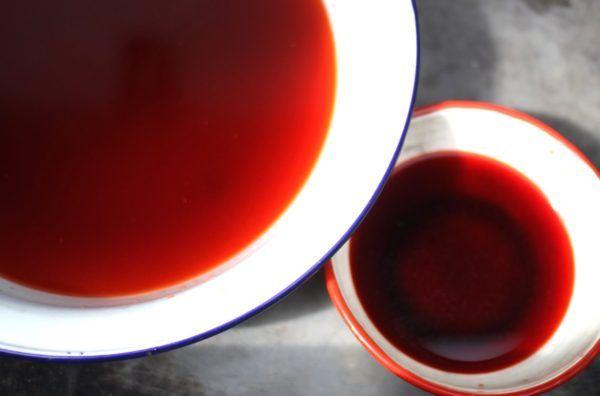煮出したもの。右が一番目、左が二番目。Cochineal extract