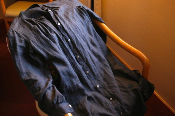 リネンのシャツコート