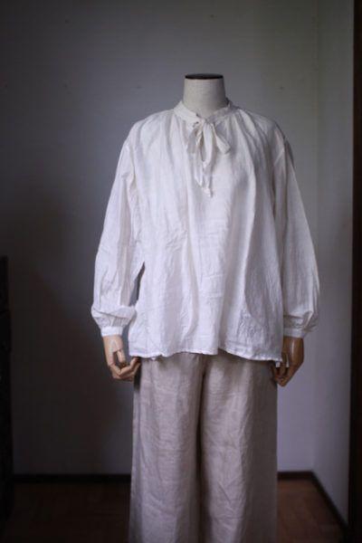 カディコットンシルクのブラウス Khadi cotton silk blouse