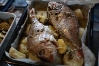 プーリアの魚料理。庭でとれたてのじゃがいもと一緒にロースト。